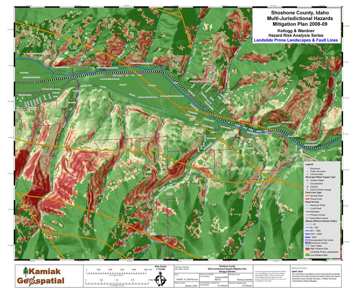 Landslide Prone Landscapes and Faults, Wardner, Idaho
