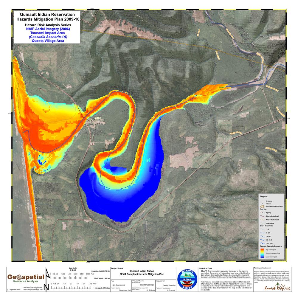 Tsunami Innundation Zones, Queets, Washington